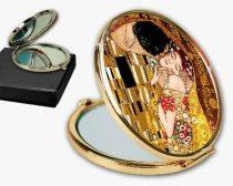 Kézitükör nagyítós fémkeretben, dobozban 11cm, Klimt:The Kiss