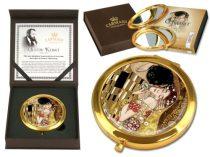 Kézitükör nagyítós, fémkeretben, dobozban 11cm,Klimt:The Kiss