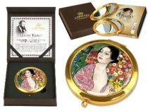 Kézitükör nagyítós, fémkeretben, dobozban 11cm,Klimt:A táncos
