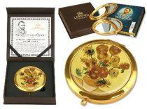 Kézi tükör nagyítós, fémkeretben,dobozban 11cm,Van Gogh:Napraforgók