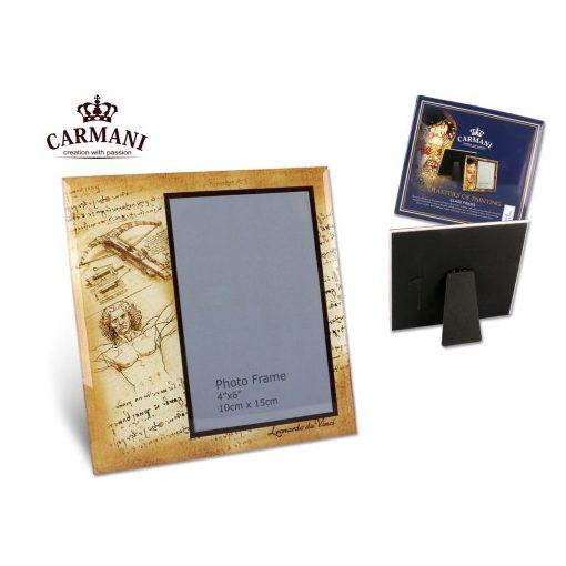 "Üveg képkeret  Leonardo Da Vinci : Vitruvius tanulmány ""  18x18cm"""