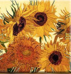 Üveg falióra 30x30cm, Van Gogh: Napraforgók