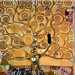 Üveg falióra 30x30cm, Klimt: Életfa