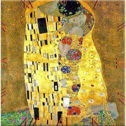 Üveg falióra 30x30cm, Klimt:The Kiss