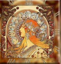 Üveg falióra 30x30cm, Mucha: Zodiac
