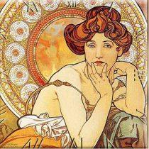 Üveg falióra 30x30cm, Mucha: Topáz (Nyár)