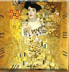 Üveg falióra 30x30cm,Klimt:Adele (Arany nő)