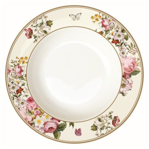 Porcelán mélytányér 22,5cm, Blooming Opulence cream