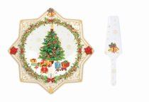 Porcelán süteményes tál lapáttal 32cm, Christmas gold