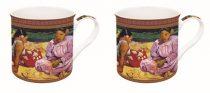 Porcelán bögreszett 2db-os dobozban, 300ml,Gauguin: Tahiti nők a parton