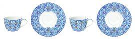Porcelán teáscsésze + alj 2 személyes, 240ml, dobozban, Maiolica Blue