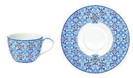 Porcelán teáscsésze+alj, 240ml, Maiolica Blue