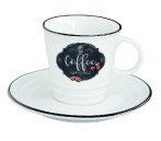 R2S.1601KIBC Porcelán kávéscsésze + alj, 300ml, dobozban, Kitchen Basics