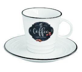 Porcelán kávéscsésze + alj, 300ml, dobozban, Kitchen Basics