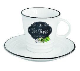 R2S.1601KIBT Porcelán teáscsésze + alj, 300ml, dobozban, Kitchen Basics