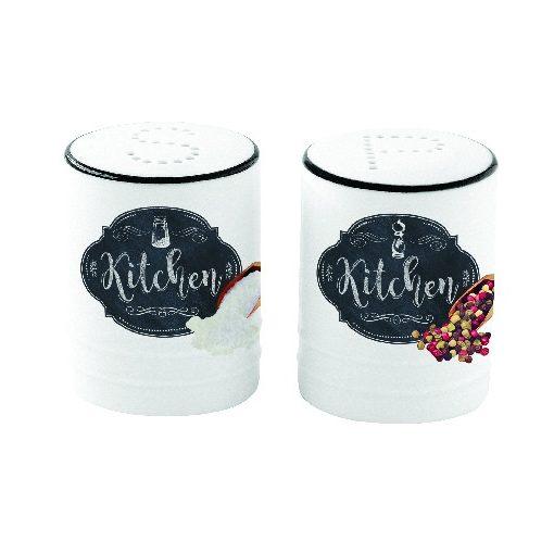 Porcelán só-borsszórószett 65ml, dobozban, Kitchen Basics