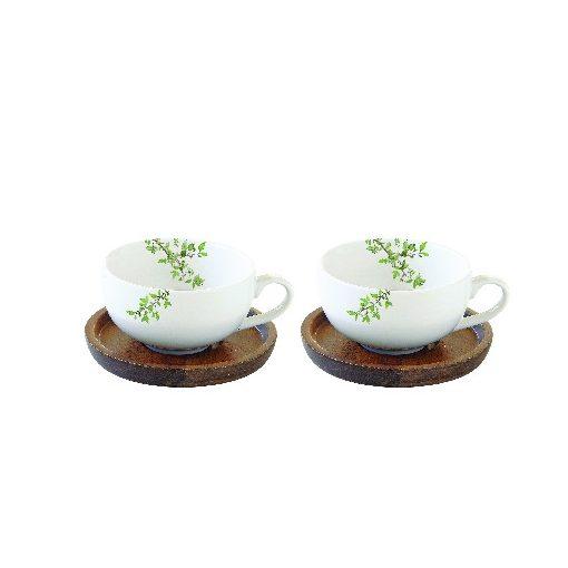 Porcelán kávéscsésze akácfa aljjal, 2 személyes 120ml, dobozban, Natura