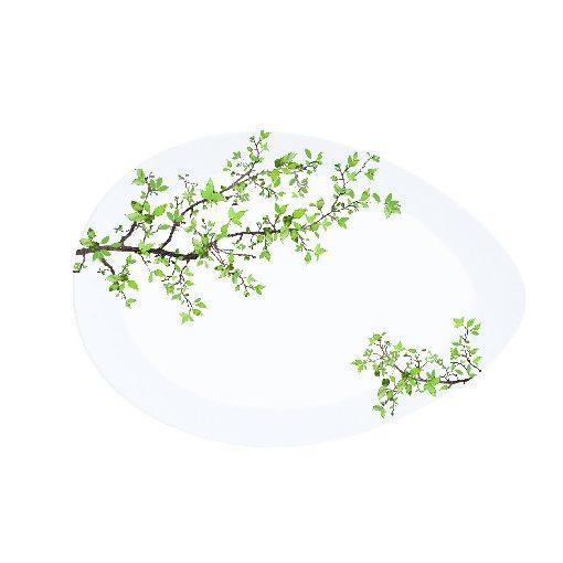 Porcelán kínálótál tojás forma, 24x16,5cm, dobozban, Natura