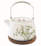 Porcelán teáskanna akácfa tálcán, 750ml, dobozban, Natura