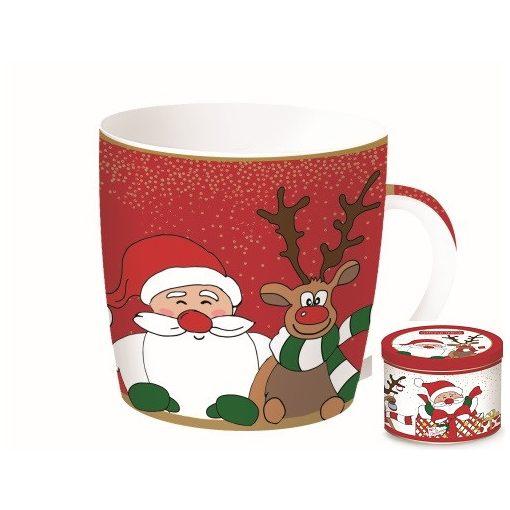 Porcelánbögre 350ml,fémdobozban,Christmas Friends 1