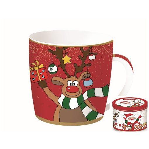 Porcelánbögre 350ml,fémdobozban,Christmas Friends 2