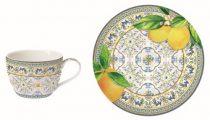 Porcelán eszpresszócsésze+alj, 110ml, Capri Agrumi