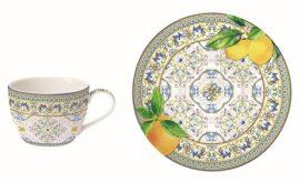 Porcelán teáscsésze+alj, 240ml, Capri Agrumi