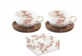 R2S.1081SAKU Porcelán kávéscsésze akácfa aljjal,2 személyes,120ml,dobozban,Sakura