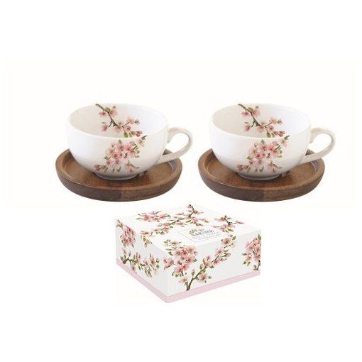 Porcelán kávéscsésze akácfa aljjal,2 személyes,120ml,dobozban,Sakura