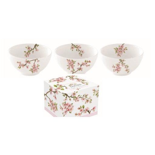 Porcelán tálkaszett S/3,9,5cm,dobozban,Sakura