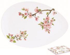 Porcelán kínálótál tojás forma,24x16,5cm,dobozban,Sakura