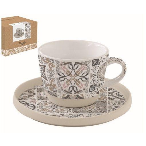 Porceláncsésze+alj 250ml,dobozban,Casa Decor grey