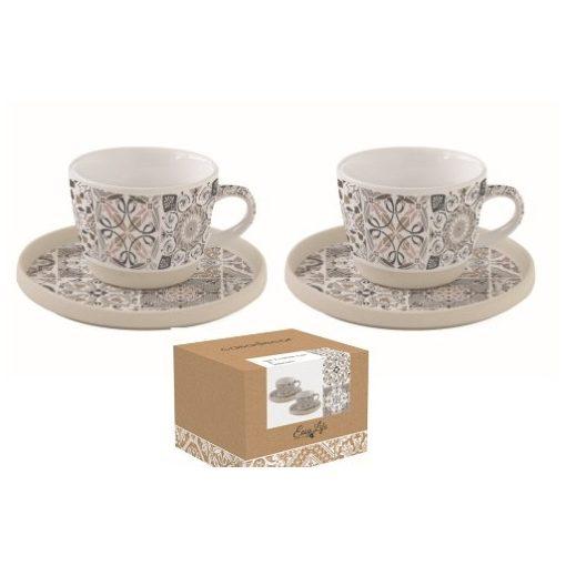 Porcelán eszpresszócsésze+alj 2 személyes,120ml,dobozban,Casa Decor grey