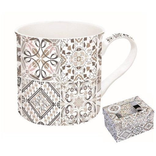 Porcelánbögre 300ml, dobozban, Casa Decor grey