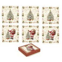 Parafa poháralátét 10,5x10,5cm, 6db-os, Magic Christmas
