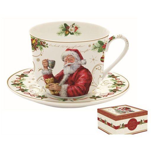 Porcelán reggelizőcsésze+alj 400ml, dobozban, Magic Christmas