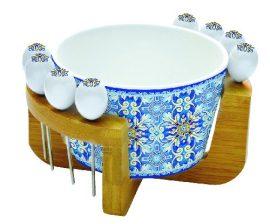 Porcelántálka 16cm 8 olivanyárssal, dobozban, Maiolica Blue