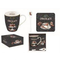 Porcelánbögre kanállal,parafa poháralátéttel, dobozban, Hot Chocolate