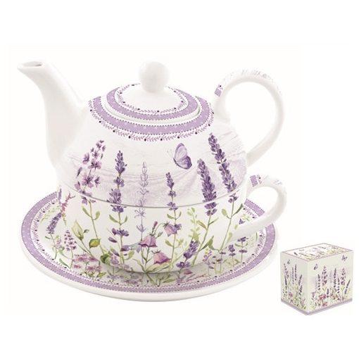 Porcelán egyszemélyes teáskészlet 350ml+350ml,dobozban,Lavender Field