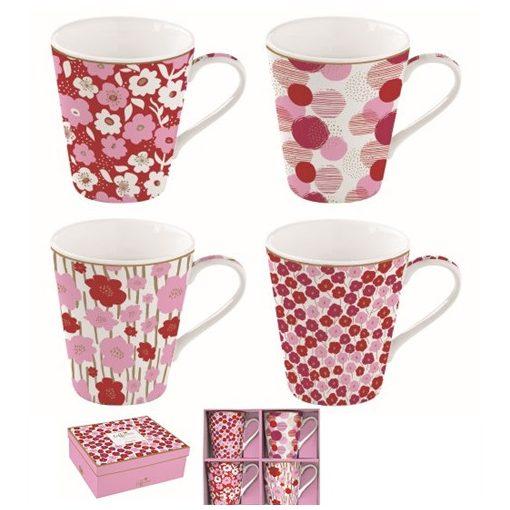 Porcelánbögre 4db-os 300ml,dobozban,Coffee Mania,Flower Power pink