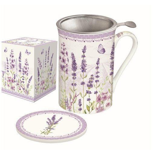 Porcelánbögre 300ml,tetővel,fémszűrővel,Lavender Field