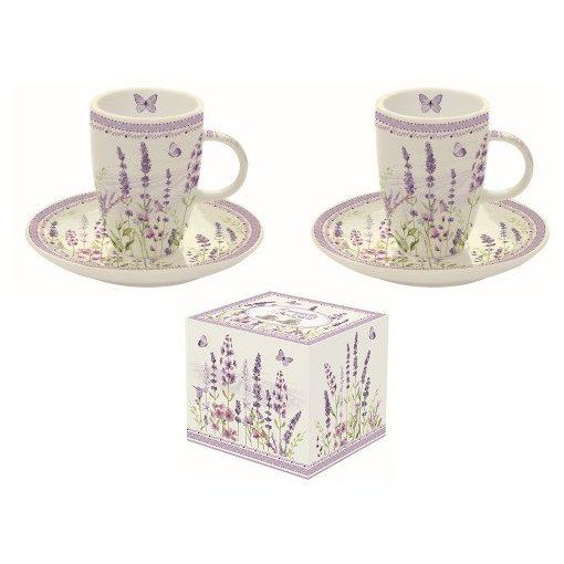 Porcelán eszpresszócsésze+alj 2 személyes,50ml,dobozban,Lavender Field