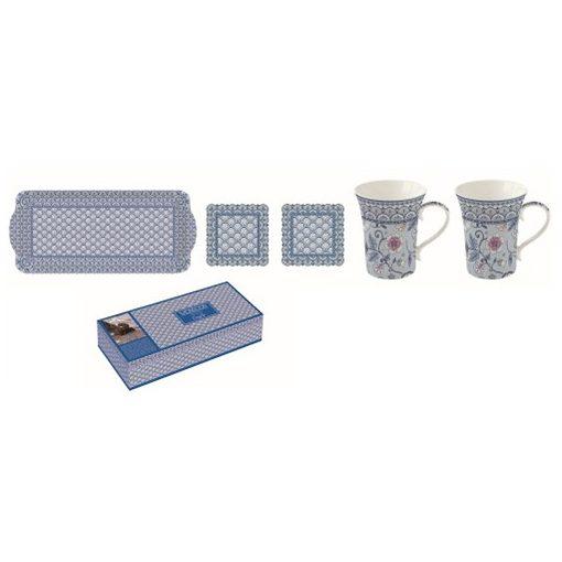 Porcelánbögre 2db,360ml,műanyag tálca 39x17cm,parafa poháralátét 2db,10,5x10,5cm,Monsoon blue