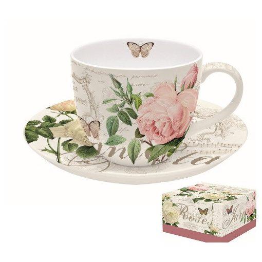 Porcelán teáscsésze+alj dobozban,200ml,Jardin Botanique