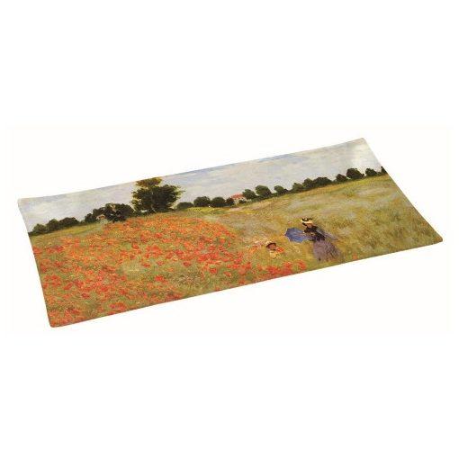 Üvegtál 36x17cm,dobozban, Monet:Pipacsmező