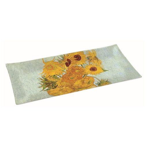 Üvegtál 36x17cm,dobozban, Van Gogh: Napraforgók