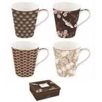 Porcelánbögre 4db-os, 300ml, dobozban, Coffee Mania Oriental
