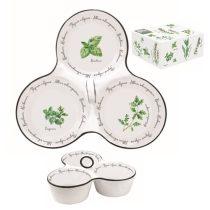 Porcelán kínálótál 3 részes 20,5x17cm,dobozban,Herbarium