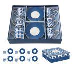 Porcelán eszpresszócsésze+alj 6 személyes, 100ml, dobozban, Geometric Blue, Coffee Mania