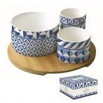 Porcelán tálkaszett 3 db-os, bambusztálcán, 22cm, dobozban, Geometric Blue, Atmosphere